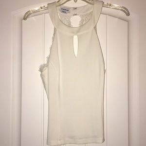 Bebe White Lace Halter Tank Top NWOT New M